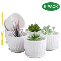 Mini Ceramic Planters, Brajttt 4 Inch Cylinder Ceramic Plant Pots with Connected Saucer, Planters for Succuelnt and Little Snake Plants (6 Pack, White)