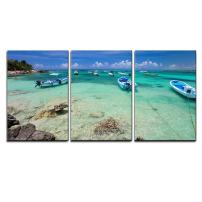 """wall26 - 3 Piece Canvas Wall Art - Tropical Coast Near Akumal in Mexico - Modern Home Decor Stretched and Framed Ready to Hang - 24""""x36""""x3 Panels"""