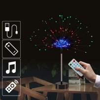 Firework Fairy Lights with Remote Control, 120 LED 4 Sounds 8 Mode Twinkle String Lights Battery Operated DIY String Lights for Living Christmas,Room,Bedroom,Party,Wedding Decoration (2pc, Multicolor)