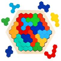 JCREN Wooden Hexagon Puzzles for Kids - Wood Colorful Shape Block Jigsaw Puzzles Brain Teasers Montessori Educational Toys Geometry Logic Tangram Puzzles Gift for Children Toddlers Boys Girls