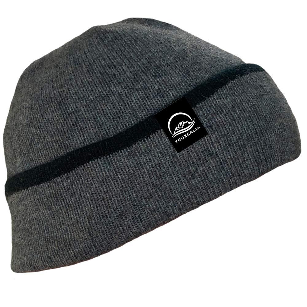 TRUZEALIA Wool Beanie Unisex Double Layered Grey Mix 1 Size (Grey)