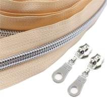 YaHoGa #5 Silver Metallic Nylon Coil Zippers by The Yard Bulk Beige 10 Yards with 25pcs Sliders for DIY Sewing Tailor Craft Bag (Silver Beige)