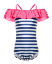 BELLOO Big Kids Girls One Piece Swimsuit Ruffle Design Sailer Stripes Swimwear Bathing Suits