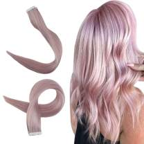 Easyouth Tape in Hair Extensions Real Human Hair 18inch Color Lilac 10pcs/Pack Glue in Hair Tape in Extensions for Women 25g/Pack Seamless Hairpiece Tape Extensions