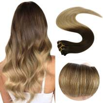 [Only $49.99] Easyouth Ombre Clip in Hair Extensions Color 4 Fading to 27 Honey Blonde (16inches 80g, 7pcs) Real Human Hair, Clip in Extensions for Party Brazilian Hair Extensions