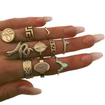 Barode Snake Joint Knuckle Rings Set Gold Multi Size Fashion Finger Ring Set Rhinestones Stackable Hand Jewelry for Women and Girls (10Pcs)