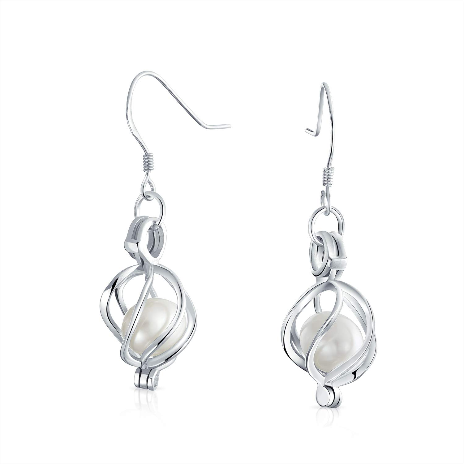 Black White Bridal Freshwater Bird Caged Cultured Pearl Drop Earrings For Women 925 Sterling Silver French Wire Hook