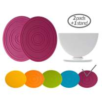 Salle Ma Silicone Trivets, 2 Pads and 1 Stand, Ergonomic Design, Multipurpose Kitchen Tool, Premium Silicone Pot Holders, Jar Openers, Hot mitts, Hot Pads, Spoon Rests (Purple)
