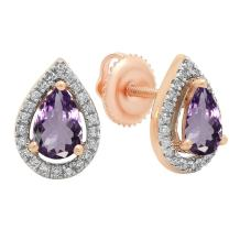 Dazzlingrock Collection 10K 6X4 MM Each Pear Gemstone & Round Diamond Ladies Halo Teardrop Stud Earrings, Rose Gold