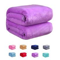 Flannel Fleece Luxury Blanket Twin Size Lightweight Cozy Plush Microfiber Solid Blanket Soft Warm Cozy Kids Teen Bed Blanket (Purple, 60x80inch-Twin)
