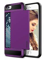Vofolen Case for iPhone SE Case iPhone 5S Case Wallet Card Holder Slot Slidable Hidden Pocket Protective Shell TPU Hybrid Rubber Bumper Armor Anti-Scratch Hard Case Cover for iPhone SE 5 5S Purple