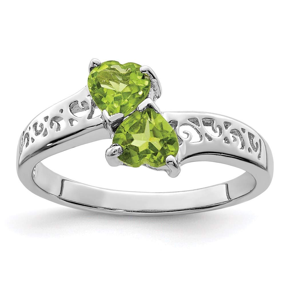 925 Sterling Silver Green Peridot Heart Band Ring S/love Gemstone Fine Jewelry For Women Gift Set