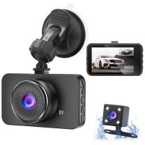 "Dual Dash Cam Bositvi Dash Camera Front and Rear, Full HD 3"" IPS Screen Dashboard Camera, 170°Wide Angle and Rear Camera with Night Vision Driving Recorder, Motion Detection G-Sensor Loop Recording"