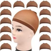 Teenitor 28 pack Brown Wig Cap, Flesh Tone Skin Color Head Cap, Elastic Medium Nylon Stocking Caps