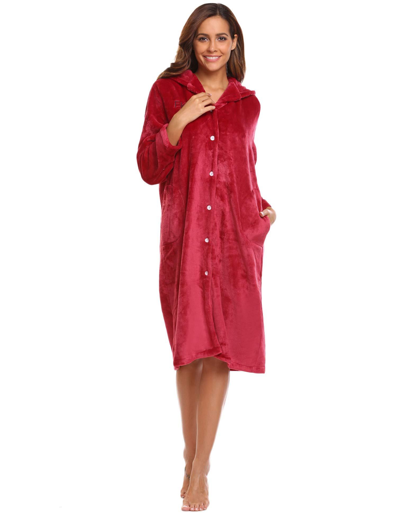 Ekouaer Hooded Robes Women Fleece Housecoat Thick Bathrobe Warm Robecoat Plush Wrap Robe with Pockets Winter Nightgown S-XXL