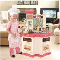 Kids Kitchen Playsets, Mosunx Pretend and Play Kitchen Toy Set with Running Water & Realistic Sounds, Simulation Cooking Toys Birthday Gift for Child Boys Girls (Pink, 3 Years Old and up)