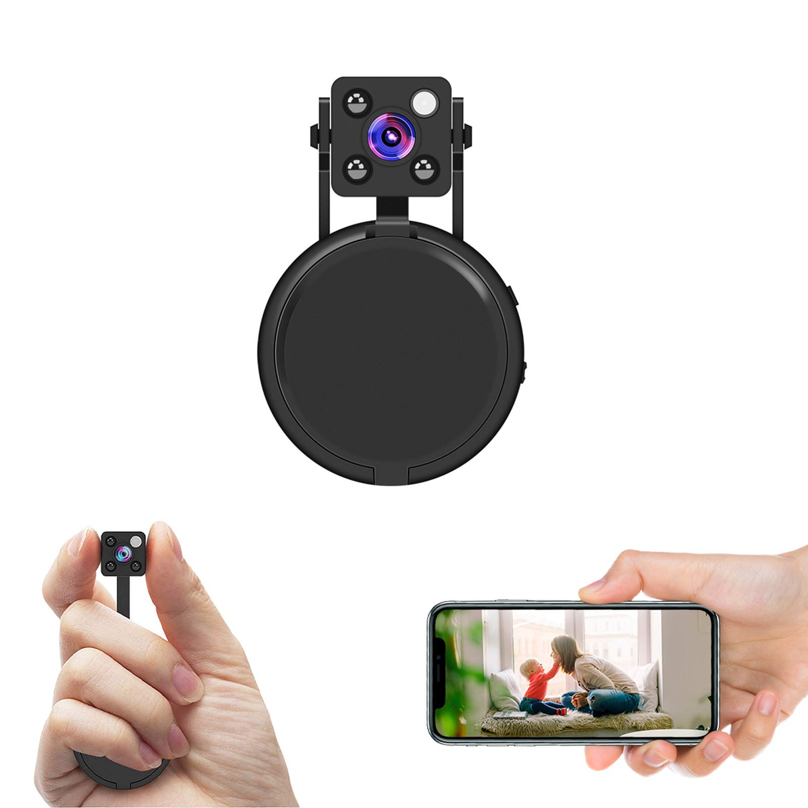 HD 1080P Mini Spy Hidden Camera ,Mini Hidden WiFi Camera with Wireless Live Streaming,Hidden Camera WiFi with Motion Detection and Night Vision(with Free APP) (Black)