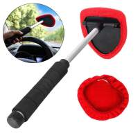 Silence Shopping Microfiber Car Windshield Easy Cleaner, Detachable Handle Brush, Cleaning Tool,Windshield Cleaning Tool with Extendable Handle 3 Pcs for Car Window Windshield (Red)