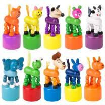 PROLOSO 10 Pcs Finger Puppets Wooden Animals Push Up Toys Press Base