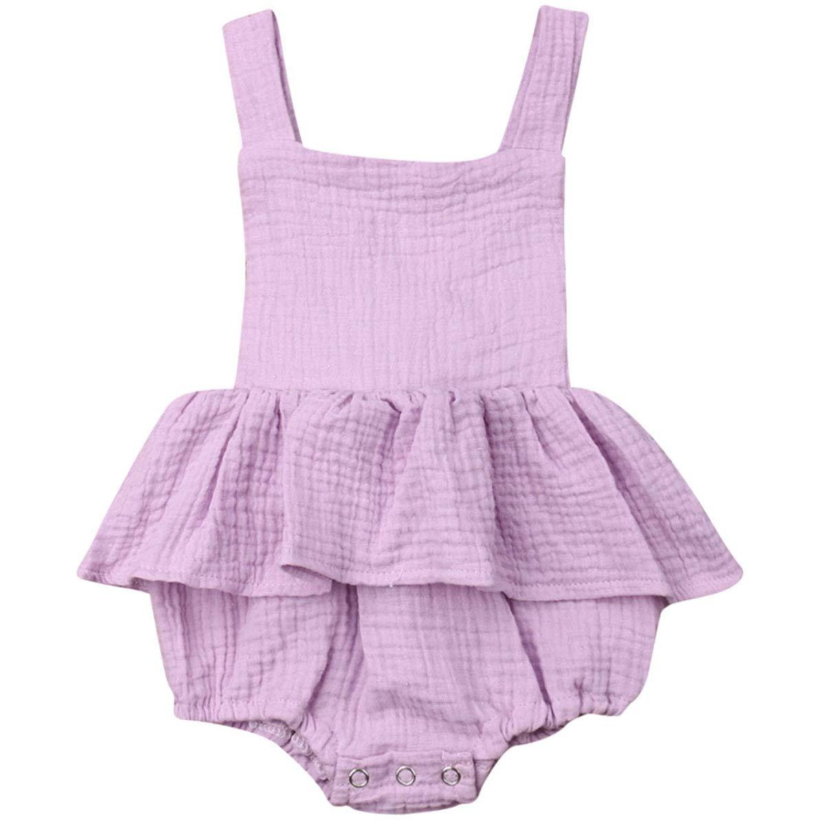 Newborn Baby Girls Sleeveless Ruffled Romper Bodysuit Cotton Jumpsuit Romper Dress Baby Girl Dresses Outfit
