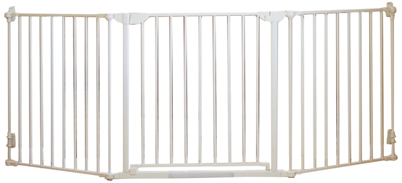 Qdos Construct-A-SafeGate - Wide Baby Gate - Meets Tougher European Standards - Create Customized Safe Spaces around Fireplaces, Large Openings, Stairways - Includes a door and 2 sections   White