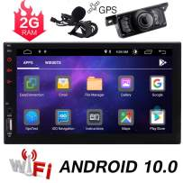 Double Din Android 10.0 Car Stereo 7 Inch Touch Screen Car Radio with Bluetooth GPS Navigation 2DIN Radio Receiver Android Head Unit Backup Camera Support WiFi/Mirror Link/SWC/DVR/USB/SD