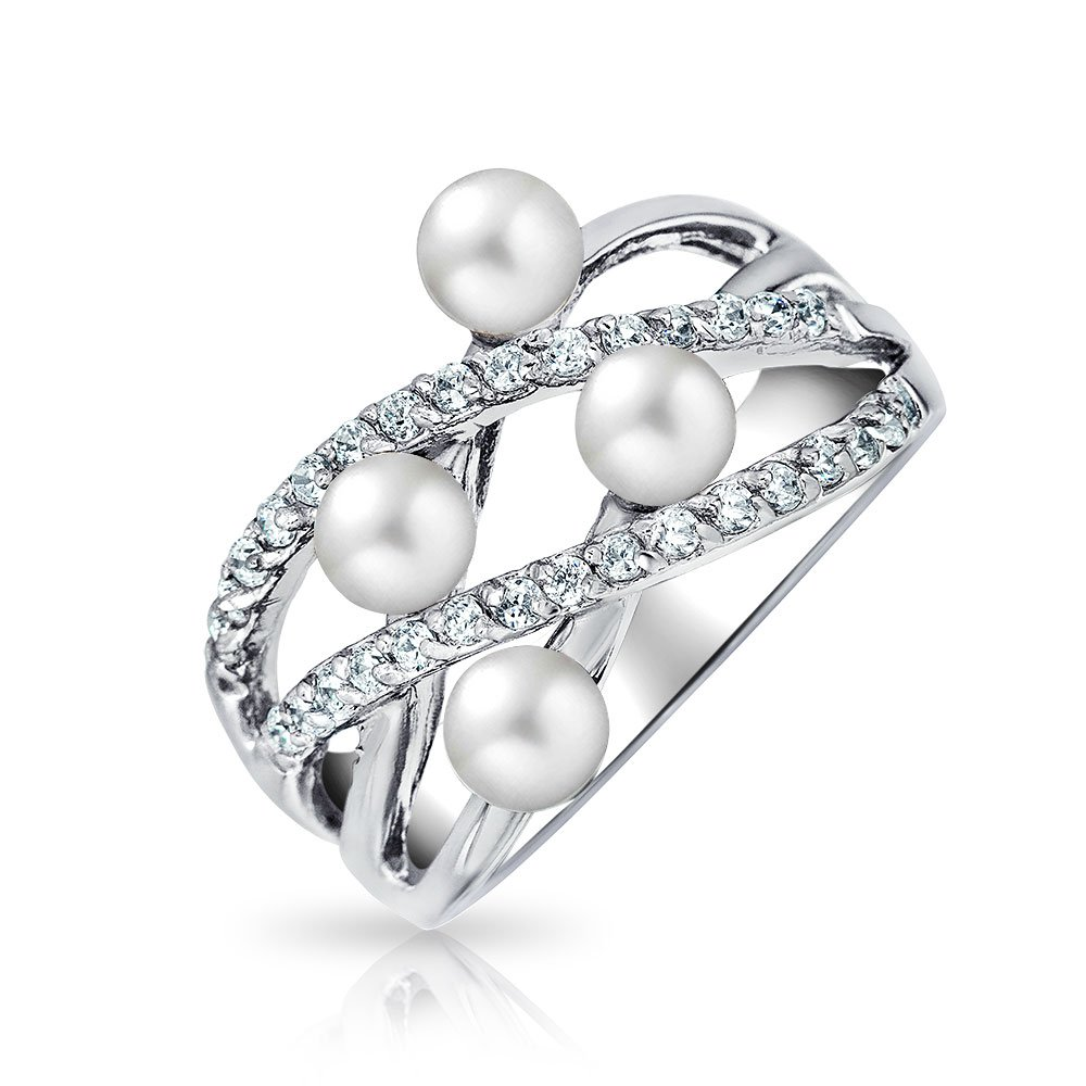 Crossover Criss Cross Stacking Style Fashion Statement White Simulated Pearl Band Ring For Women 925 Sterling Silver