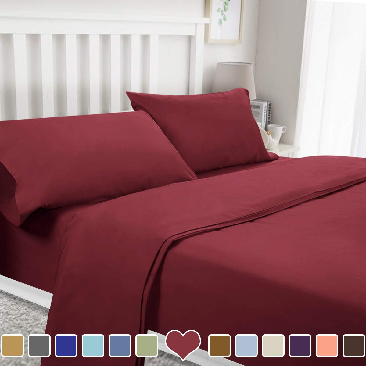 BYSURE 4 Piece Luxury Bed Sheet Set - Soft Durable Brushed Microfiber 1800 Thread Count Bedding Sheets with 14 Inch Deep Pockets,Wrinkle & Fade Resistant(Full,Burgundy)
