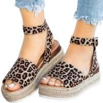 Athlefit Women's 2019 Platform Sandals Espadrille Wedge Ankle Strap Studded Summer Sandal