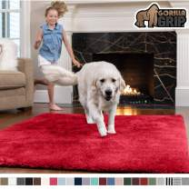 Gorilla Grip Original Faux-Chinchilla Area Rug, 3x5 Feet, Super Soft and Cozy High Pile Washable Carpet, Modern Rugs for Floor, Luxury Shag Carpets for Home, Nursery, Bed and Living Room, Red