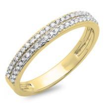 0.22 Carat (ctw) 10K Gold Round White Diamond Ladies Double Row Anniversary Wedding Band 1/5 CT