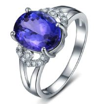 Ladies Contemporary Solid 14K White Gold Natural Gemstone Tanzanite Ring Finger Sizes 4 to 13 Available