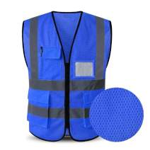 HYCOPROT High Visibility Mesh Safety Reflective Vest with Pockets and Zipper, Meets ANSI/ISEA Standards (M, Blue)