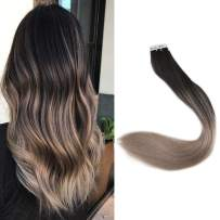 Full Shine Ombre Remy Tape Hair Extensions Human Hair Color Off Black #1B Fading To #14 Dark Blonde 18In 50 Grams skin Weft Double Sided Hair Extension Tape In Remy Straight Hair 7A Grade Good Quality