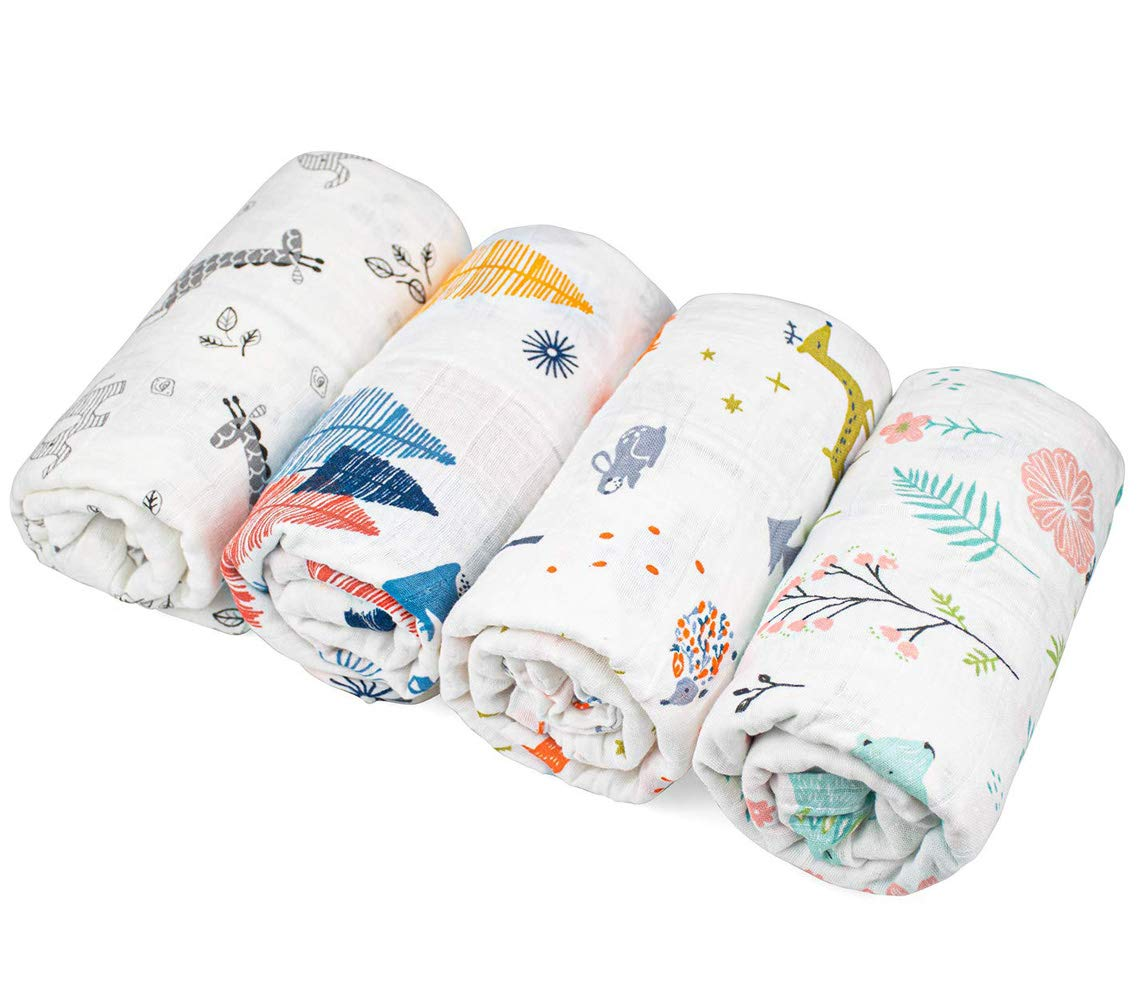 Kingrol 4 Pack Baby Muslin Swaddle Blankets, Soft Unisex Swaddle Wrap for Boys and Girls, Foxes/Elk/Elephants
