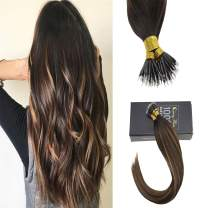 Sunny Real Human Hair Extensions Nano Brown Balayage Medium Brown Hair Color Nano Beads for Extensions for Woman 18 inch 50g
