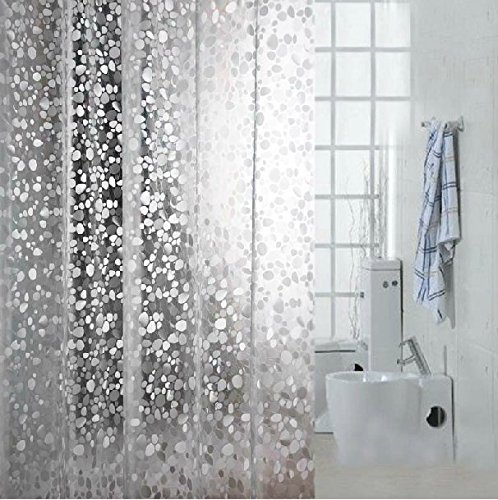 Eforcurtain Extra Long 72 by 78-inch Shower Curtain Liner Cobblestone Eco-Friendly EVA Semi-Transparent Bath Curtain Waterproof Shower Curtain Use as Stand Alone or Liner
