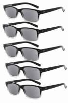 Eyekepper Mens Reading Sunglasses-5 Pack Grey Tinted Lens Glasses for Men Reading Under The Sun,+0.50 Reader Eyeglasses Women