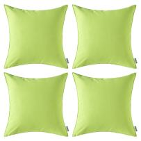 MIULEE Pack of 4 Decorative Outdoor Waterproof Pillow Cover Square Garden Cushion Case PU Coating Throw Pillow Cover Shell for Tent Park Couch 18x18 Inch Pale Green
