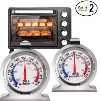 Instant Read Large Dial Oven Thermometer- Stainless Steel Grill/Smoker Monitoring Thermometer with Hook and Panel Base Hang or Stand for Kitchen Home Cooking, Baking, BBQ (2 Pieces)