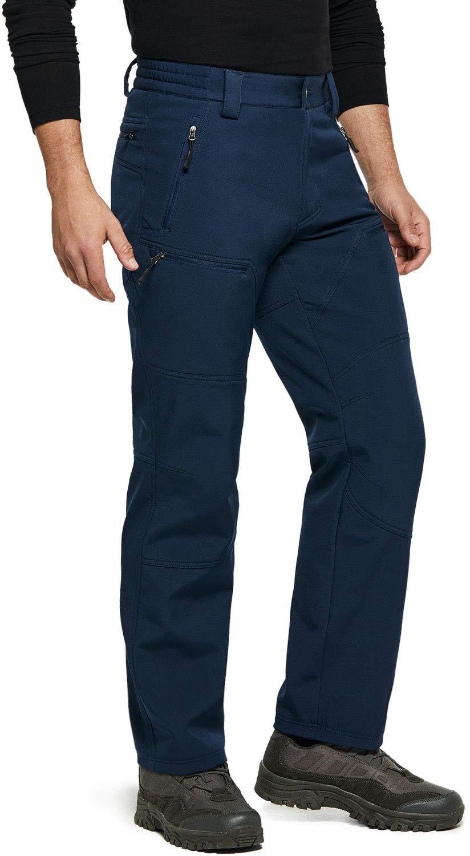 TSLA Men's Fleeced Line Tactical Cargo Hiking Water Repellent EDC Winter Pants