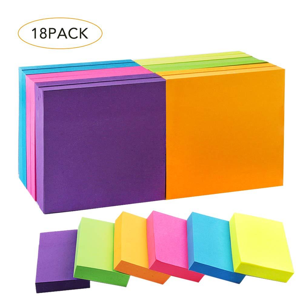 "JPSOR 18 Pads Sticky Notes Set, Colorful Self-Stick Pads, 12 Pads 3""x3"", 6 Pads 2""x1.5"", 6 Colors, 100 Sheets/Pad (B- 18 Pads)"