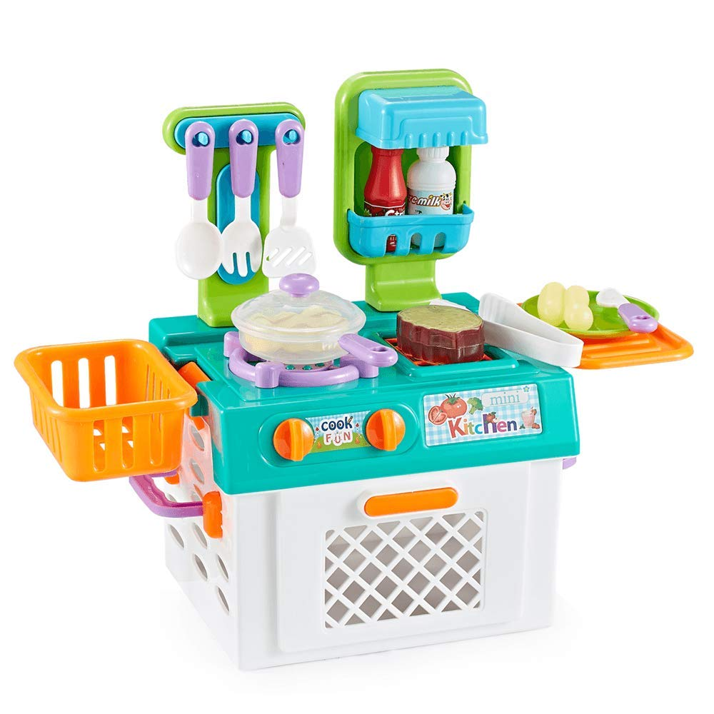 Think Gizmos Play Kitchen Set For Girls Boys Portable Pretend Play Cooking Sets For Kids With Colour Changing Cooking Effect Food Fun Play Sets Gift For Boys Girls Aged