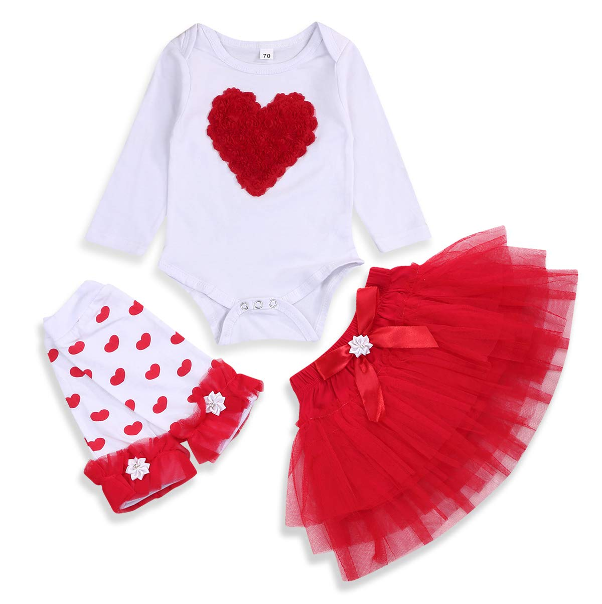 Newborn Infant Baby Girl Clothes Valentine's Day Love Heart Romper Top Tutu Skirt +Leg Warmers 3Pcs Outfits
