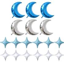 KEYYOOMY Crescent Moon Shaped Mylar Balloons 36 inch Moon and Star Party Balloons Pack of 18 for Birthday Party Anniversary Celebrate Parties Wedding Baby Shower Decorations (Moon and Four Star Blue)