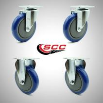 """Service Caster – 5"""" Blue Polyurethane Wheel – 2 Stainless Steel Swivel and 2 Stainless Steel Rigid Casters – Set of 4"""