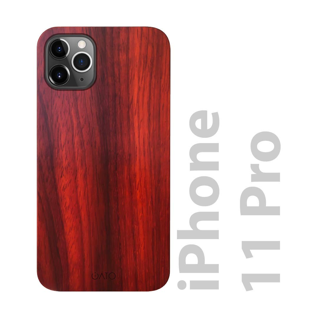 """iATO iPhone 11 Pro Wood Case. Real Rose Wood iPhone 11 Pro Case Wood. Minimalistic Clean Dark Wood Case for iPhone 11 Pro 5.8"""" {New 2019} Wireless Charging. Natural Wooden & Black Polycarbonate Bumper"""