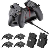 Controller Charger Station for Xbox-one/S/X/Elite, Xbox Series X/S,Fast Dual Charging LED Indicator Dock Station with 2X 1100mAh Rechargeable Battery&Battery Cover and Charging Cable-Black