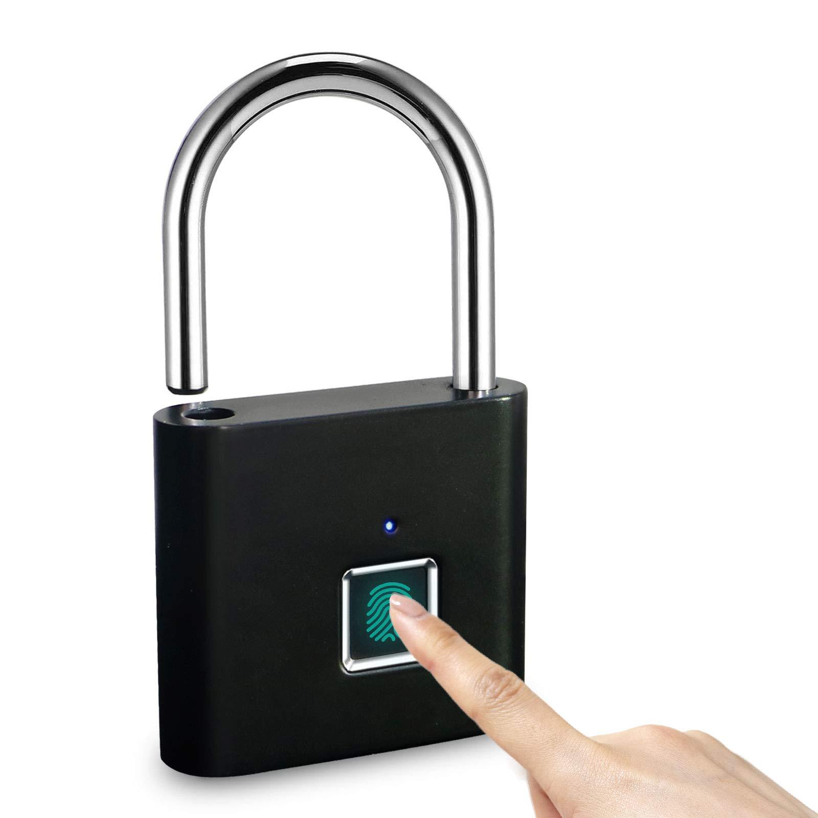 LANDYE Fingerprint Padlock Locker Lock, Smart Pad Lock Waterproof Small Portable Biometric Padlock with USB Charging for Locker,Luggage, Gym , Suitcas