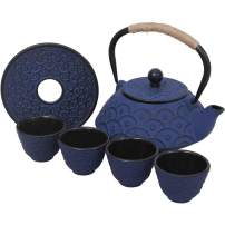 Japanese Style Cast Iron Teapot Set with 4 Tea Cups Iron Tea Kettle with Infuser Hemp Rope Trivet Asian Gift for Adults Parents (Fish Scale Pattern, Blue,Anti Rust)